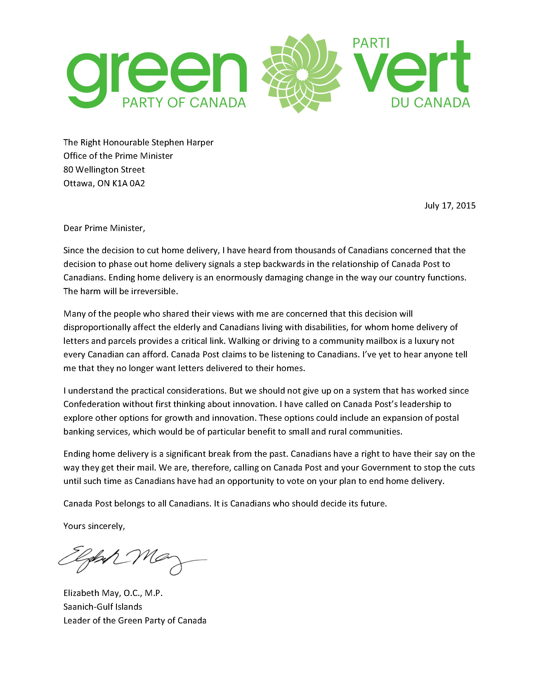 Green Party letter to Prime Minister