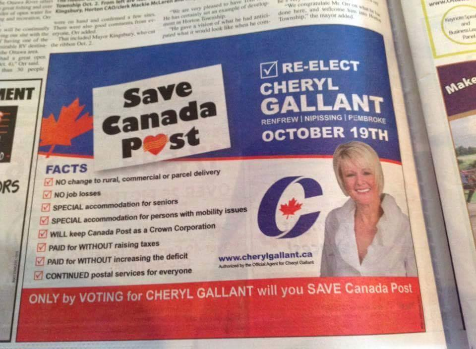 The ad features the CUPW's Save Canada Post artwork and logo which has appeared on lawn and window signs across the country.