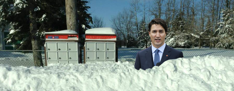 photo montage: Justin Trudeau in a snowbank with a snowed-in community mailbox