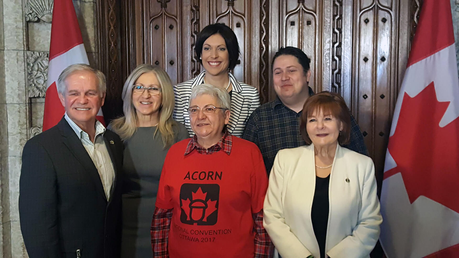 NDP MP Irene Mathyssen (London-Fanshawe) discusses NDP motion on postal banking. Supporters participating in the media conference included Gisele Bouvier (ACORN), Mike Palacek (CUPW), Brenda McAuley (CPAA), André Simard  (Mayor, St. Roch des Aulnaies) and