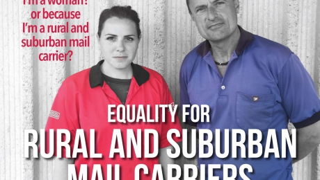 The woman in red makes almost 30% less for doing the same work as the man in blue   Is it because I'm a woman? Or because I'm a rural and suburban mail carrier?   Equality for Rural and Suburban Mail Carriers Now   #Becauseits2016   Most RSMCs are women.